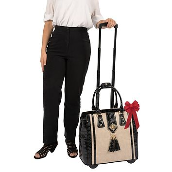 """""""THE MONTECITO"""" Python & Alligator Rolling Laptop Carryall Trolley Bag (fits up to a 17"""" laptop)"""