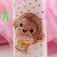 iphone 4 case,cute Monkey  iphone 4s case,crystal  iphone 5 case,rhinestone samsung galaxy s3 case,samsung galaxy s4 case