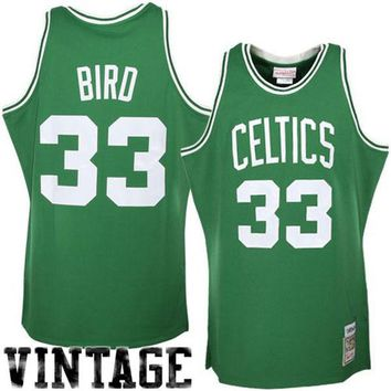 Mitchell & Ness Boston Celtics #33 Larry Bird Green Hardwood Classics Authentic Throwback Jersey