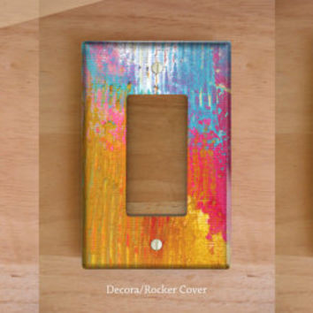 Fire in the Sky Vinyl Light Switch Cover. Outlet Cover, Pastel Decor, Abstract Painting, Paint Splatter, Home Decor, Modern Art, Dorm Decor