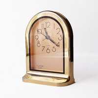 QUARTZ Alarm Clock Classic Watch Wecker Gold Art Deco Oval Round Sophisticated Home Decor Modernist Geometric Night Stand 80s Vintage Retro