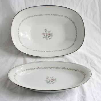 Vintage Noritake China Mayfair 6019 Vegetable Bowl And Relish Dish Set White With Rose Pattern