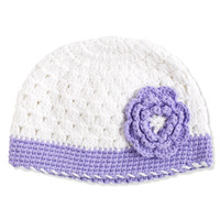 WHITE & PURPLE CROCHET HAT WITH FLOWER