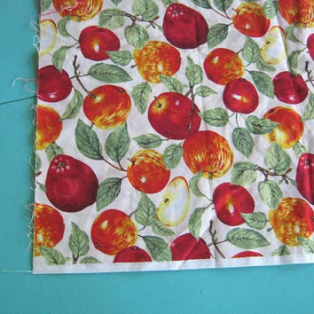 Stunning Half Yard Red Apple Print Fabric; OOP Robert Kaufman Botanical-Style/Detailed Apple Print Cotton Fabric; U.S. Shipping Included