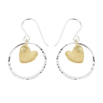 24ct Yellow Gold Vermeil Heart in Sterling Silver Circle Earrings
