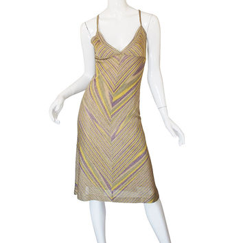 Recent Missoni Gold Knit Halter Dress