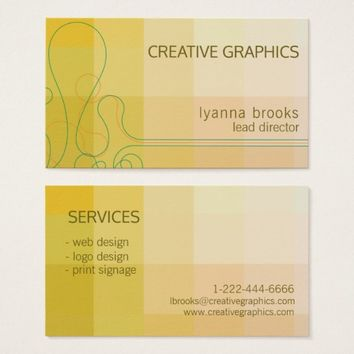 Modern Abstract Golden Green Beige Business Card
