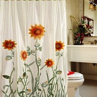 Chezmoi Collection White/Green/Yellow 3D Sunflower Shower Curtain with Liner and 12-Hook Set