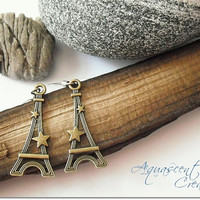 Paris Eiffel tower dangle earrings, France romantic landmark jewelry, antique bronze jewelry, French romance charm earrings, women gift
