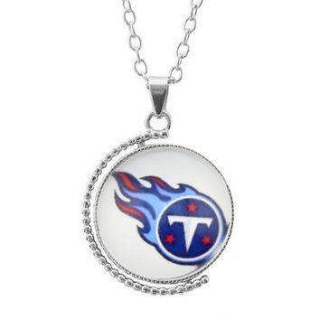 3Style Moon/Round Glass Alloy Pendant Necklace Sports Team Tennessee Titans Pendant Football
