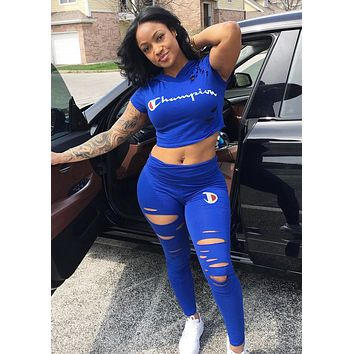 Champion Summer Fashion New Embroidery Letter Print Hole Sports Leisure Top And Pants Two Piece Suit Blue
