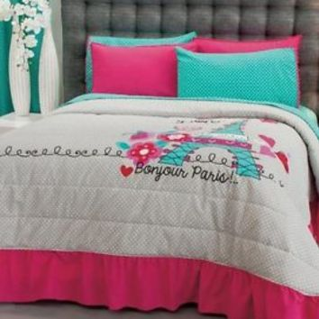 New Teens Girls Aqua Blue Pink Gray Love Paris Bedspread Bedding Set