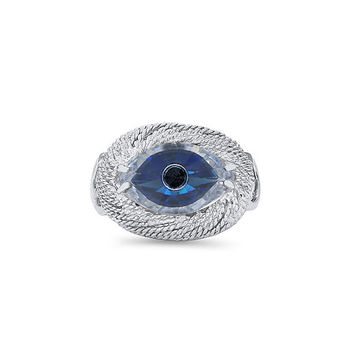 Sterling Silver evil eye cz ring. evil eye ring.