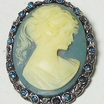 Cameo Pendant Necklace, Pendant Brooch, Blue Background, Lady's Profile, Blue Rhinestones, Silver Chain Necklace, Antique Silver Setting,