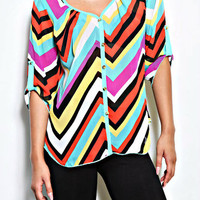 Colorful Zigzag Chiffon Top