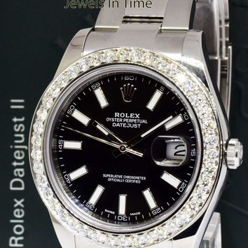 ** Rolex Datejust II Steel Diamond Bezel Black Dial Watch Box/Papers 116300 **