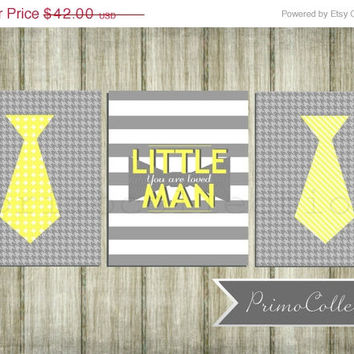 Nursery Wall Art Prints / little man / 8x10 inch / trio / set of three / gray and yellow / neckties / baby boy / boy's room decor