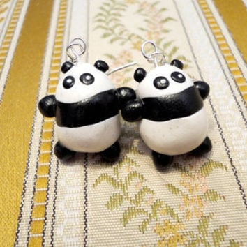 Panda earrings cute animal earrings made from by NellinShoppi