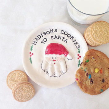 RESERVED 3 Santa ornament for  25 - 36mo. -  1 handprint Plate -  Cookie Plate - Kids ornament - Hand Print Santa - Santa Cookie Plate