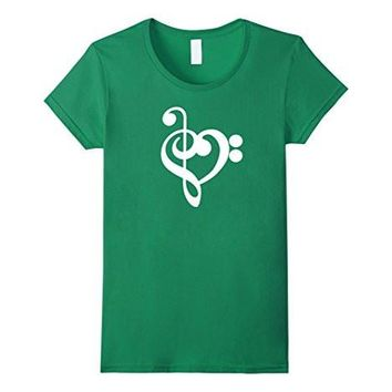 Treble Bass Clef Heart T Shirt Music Gift Idea