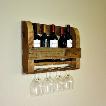 Rustic Wine Rack With Wine Glass Holders