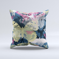 Multi-Styled Yellow Butterfly Shadow  Ink-Fuzed Decorative Throw Pillow