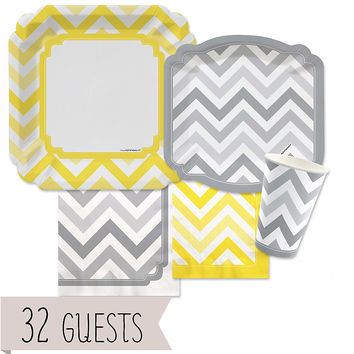 Chevron Yellow and Gray - Everyday Party 32 Big Dot Bundle
