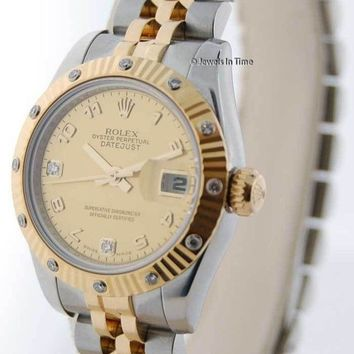 Rolex Datejust 18k Yellow Gold/Steel Diamond Ladies Watch Box/Papers 179313