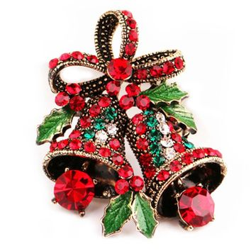 2017 Female Fashion Christmas Gifts  Bell Brooch Creative Gift Bowknot Pins And Brooches For Women Small
