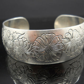 Sterling Silver 925 Large Cuff Floral S Kirk & Son Aster 15-9 Wide Heavy Mid Century Bracelet