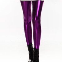 Purple Shiny Metal Leggings