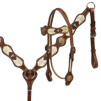 Showman® Native American Chief headstall and breast collar set with rawhide braiding.