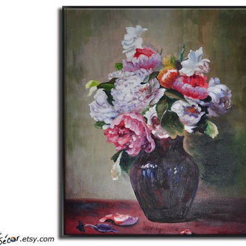 "24"" Floral/Flower Painting, Art  Reproduction, Oil On Linen Canvas, By Frank."