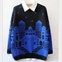 College wind sweater snow house knitted sweater