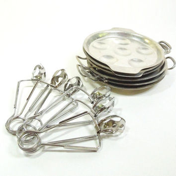Vintage escargot serving dishes with tongs - Escargot serving sets - Metal escargot serving pans (6) - Stuffed mushroom serving pans