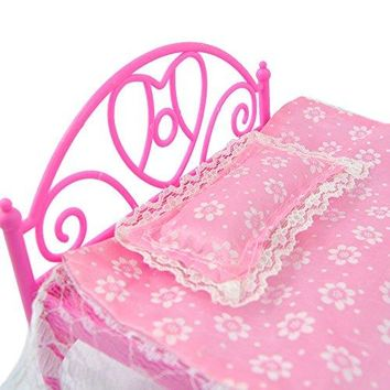 Pink Dollhouse Bedroom Furniture Mini Bed With Pillow for Barbie Dolls