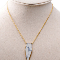 Gold Geometry White Faceted Stone Chain Necklace