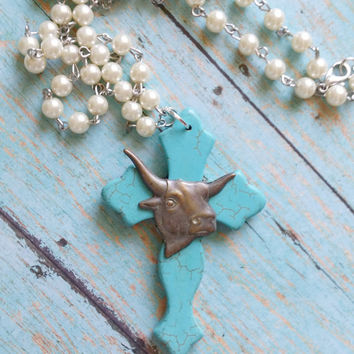 Steer Cross Necklace / Rosary Pearl Necklace / Cowgirl Chic Jewelry / Western Jewelry / Turquoise Jewelry / Boho Cross Necklace