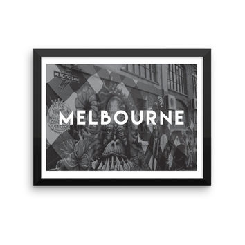 Melbourne | TRAVEL ART PRINT | A5/A4/A3/A2 - Melbourne Travel Poster, Australia, Graphic Design, Typography, Black and White