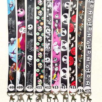 50pcs cartoon The Nightmare Before Christmas Key Lanyard Cheetah ID Badge Holders Phone Neck Straps #512