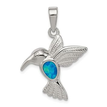 925 Sterling Silver Blue Inlay Created Opal Hummingbird Shaped Pendant