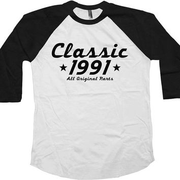 Raglan TShirt Classic 1991 (Any Year) Raglan 25th Birthday Gift American Apparel Raglan 25 Years Old Custom TShirt Unisex Raglan Tee - SA452