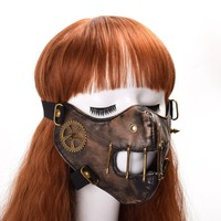 1pc Gothic Punk Steampunk Gear Mask Fashion Unisex Cosplay Rivet Face Mask Vintage
