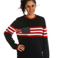 More 'Merican Than a Pizza Buffet American Flag Sweater