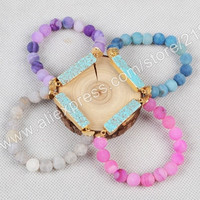 Natural Rectangle Turquoise Barcelet With 10mm Fire Agate Beads Gold Plated Making Jewelry G0790