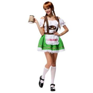 Suspender Skirt Green Costume Woman Beer Festival Costume