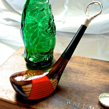 Natural Wood Bottle Opener Made out of a Persimmons Golf Club- Vintage Wilson 5 Wood Golf Club