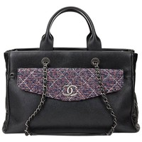 2016 Chanel Black Caviar Leather Timeless Shoulder Tote & Tweed Pouch