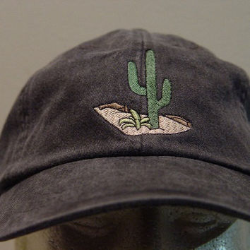 CACTUS DESERT HAT - One Embroidered Wildlife Cap - Price Embroidery Apparel - 24 Color Caps Available