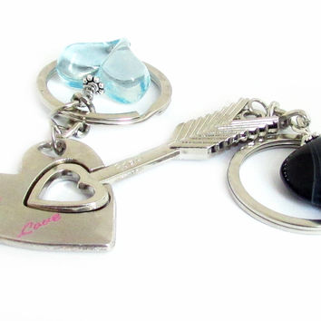 Heart Keychain, Lover's Keychain, His by earthlietreasures on Zibbet